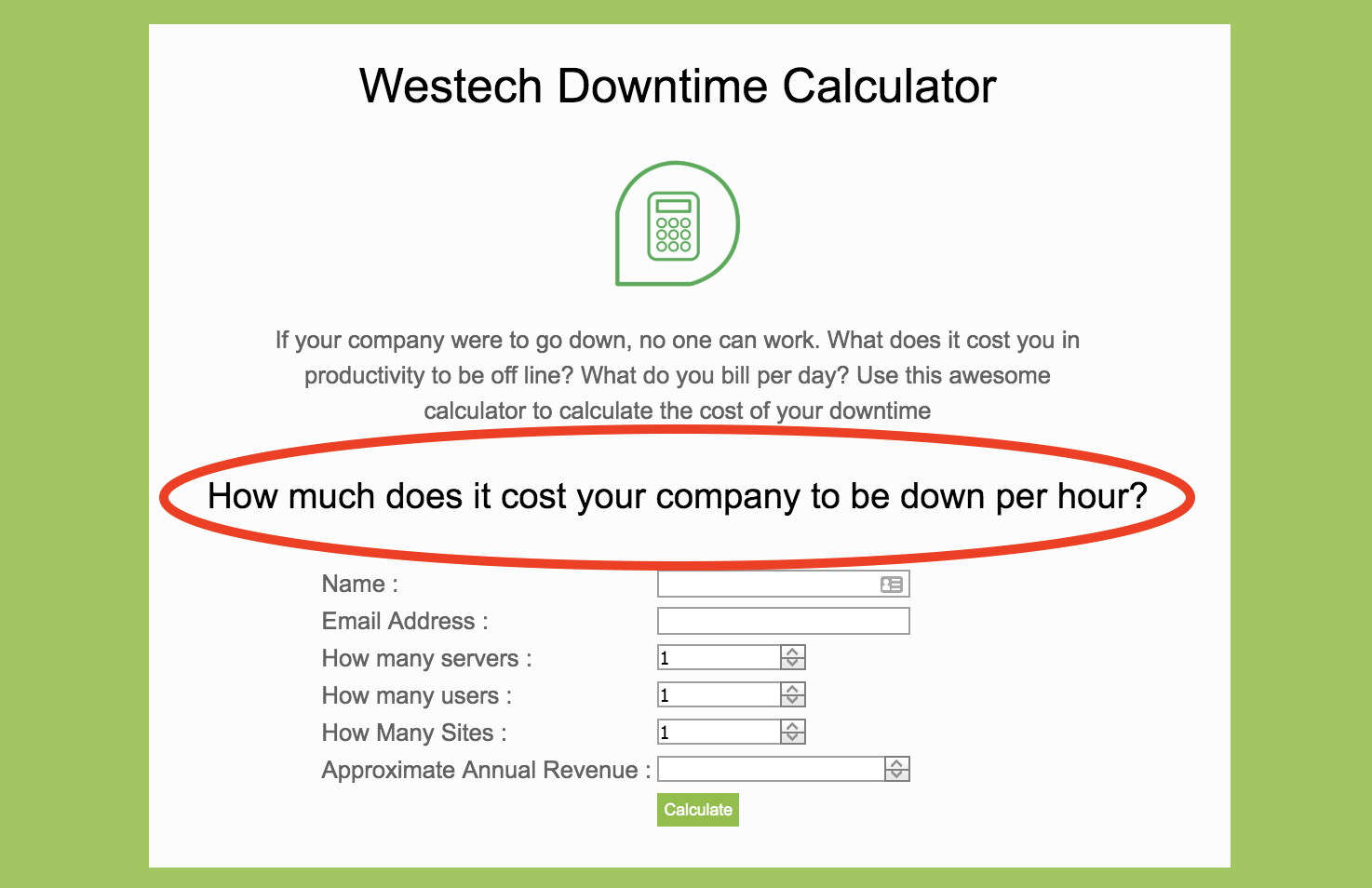 westechs it downtime calculator