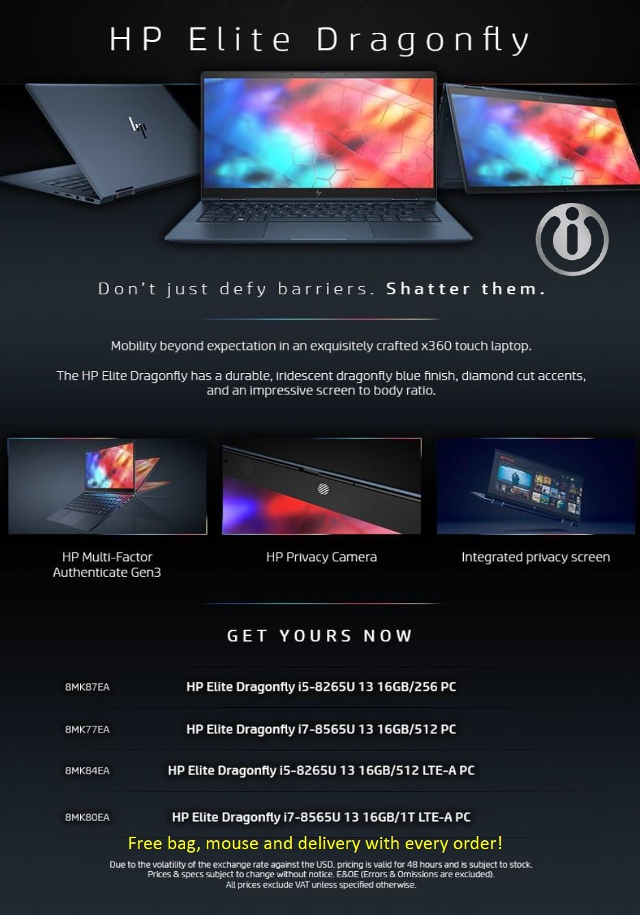 HP Elite Dragonfly Laptop - Westech Special Promotion